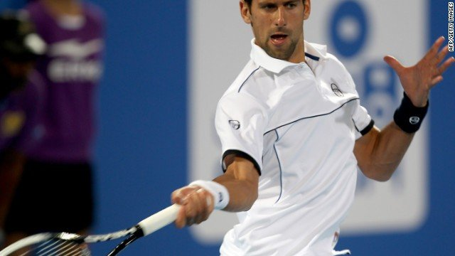 Novak Djokovic warmed up for the Australian Open with a win over Gael Monfils in Abu Dhabi.