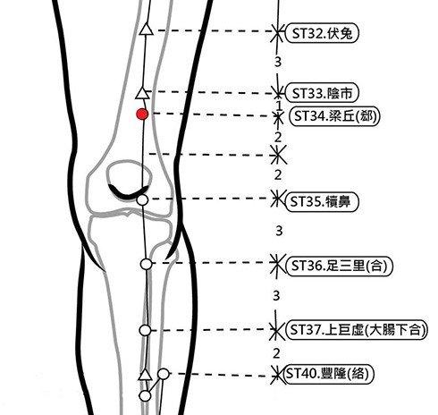 穴位保健─梁丘(消除莫名的急性腹痛)