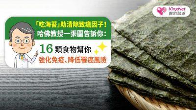 「吃海苔」助清除致癌因子!哈佛教授一張圖告訴你:16類食物幫你強化免疫、降低罹癌風險