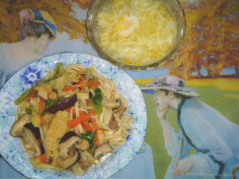珈哩燴麵+玉米濃湯